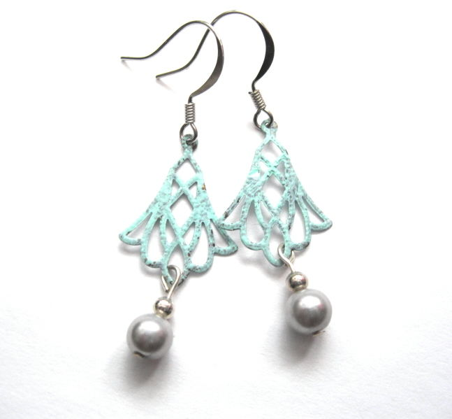 Filigree Chandelier Patina Pearl Dangle Earrings, Victorian - product images  of