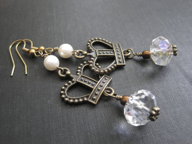 Victorian Queen Crown Crystal Pearl Dangle Earrings - product images  of