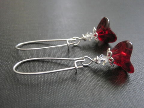 Romantic,Red,Bloom,Flower,Dangle,Earrings,Romantic Red Bloom Flower Dangle Earrings, floral earrings flower dangle earrings, handmade