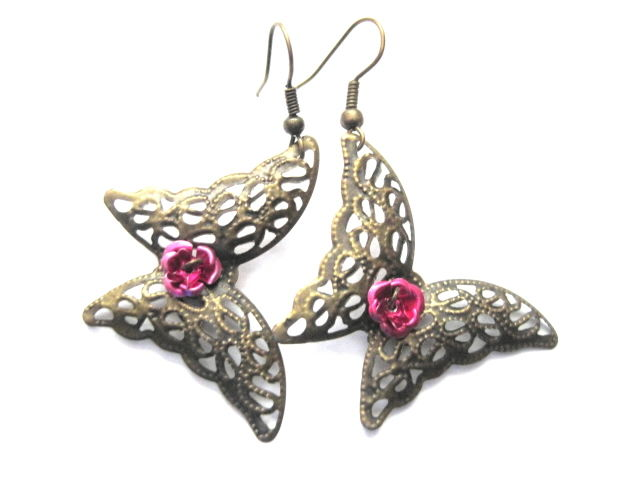 Filigree Brass Butterfly Dangle Earrings, Metal, Pink Rose - product images  of