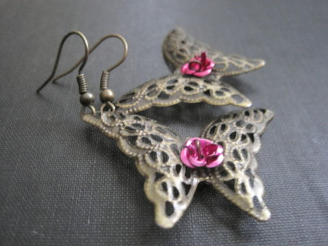 Filigree,Brass,Butterfly,Dangle,Earrings,,Metal,,Pink,Rose,Filigree Brass Butterfly Dangle Earrings, Metal, Pink Rose, handmade, butterfly, rose, filigree jewelry