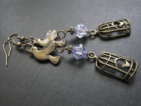 Brass,Bird,Cage,Dangle,Earrings,brass, bird, bird cage, earrings, lilac, glass beads, bicone, crackle ice, vamps jewelry, antique gold, vintage style jewelry