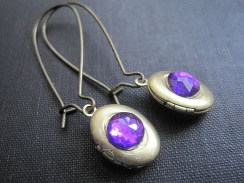 Antique,Brass,Locket,Purple,Stone,Dangle,Earrings,Antique Brass Locket Purple Stone Dangle Earrings