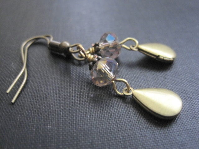Victorian Teardrop Locket Crystal Dangle Earrings - product images  of