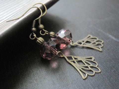Filigree,Antique,Brass,Purple,Crystal,Dangle,Earrings,Filigree Antique Brass Purple Crystal Dangle Earrings