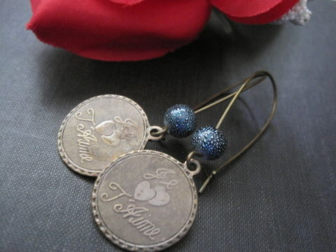 Je,Taime,Antique,Brass,Love,Dangle,Earrings,,Vintage,Look,Je Taime Antique Brass Love Dangle Earrings, Vintage Look, handmade