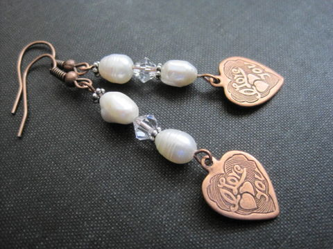Copper,Heart,Pearl,Earrings,,Vintage,Style,Copper Heart Pearl Earrings, Vintage Style