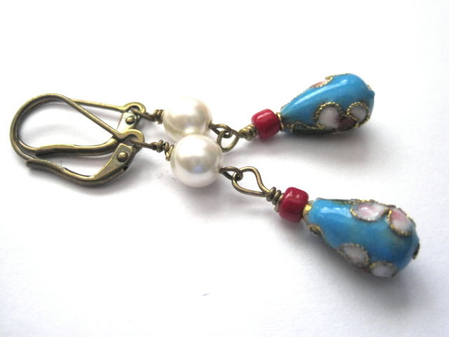 Blue Turquoise Cloisonne Pearl Dangle Earrings - product images  of