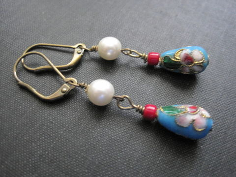 Blue,Turquoise,Cloisonne,Pearl,Dangle,Earrings,blue turquoise, cloisonne, pearl, dangle earrings cloisonne jewelry, blue, vamps jewelry, handmade, wire wrapped