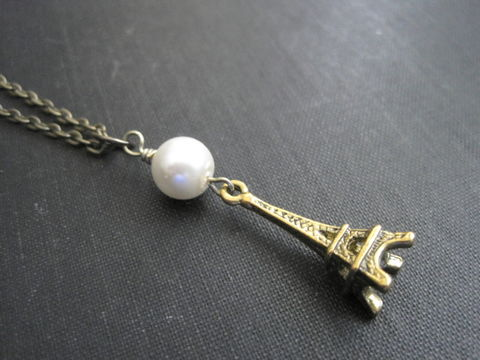Antique,Gold,Pearl,Eiffel,Tower,Paris,Necklace,brass, antique gold, pearl necklace, eiffel tower charm necklace, paris necklace, pearl paris necklace, romantic jewelry, vamps jewelry, handmade
