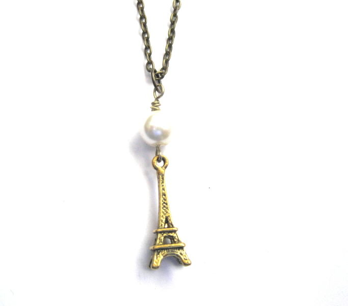 Antique Gold Pearl Eiffel Tower Paris Necklace - product images  of