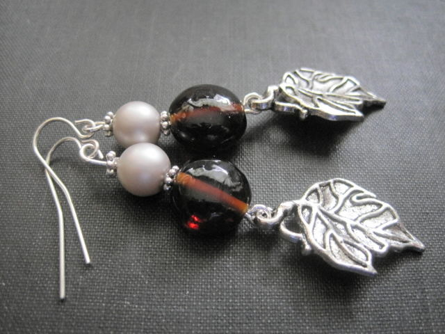 Pearls and Leaves Metal Dangle Earrings Autumn Colors - product images  of