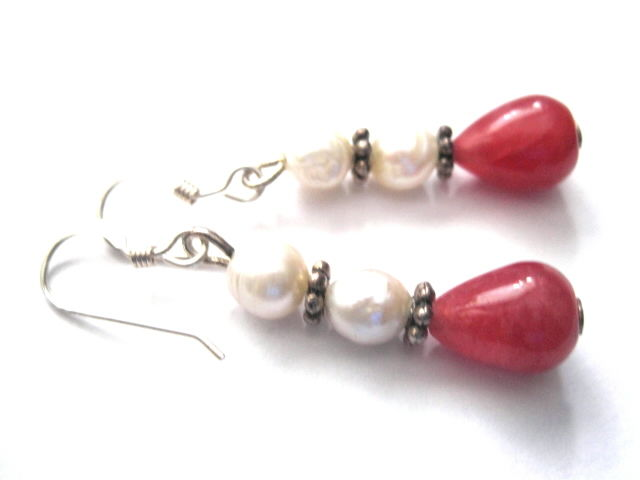 Sterling Silver Red Jade, Pearl Dangle Earrings - product images  of