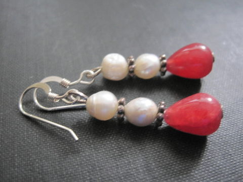 Sterling,Silver,Red,Jade,,Pearl,Dangle,Earrings,Sterling Silver Red Jade, Pearl Dangle Earrings