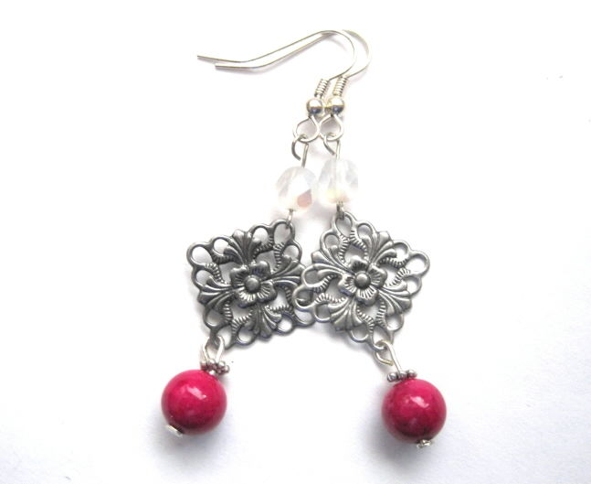 Antique Silver Filigree Pink Dangle Earrings Victorian Style - product images  of