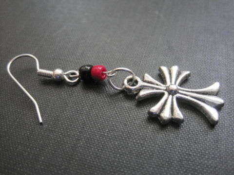 Cross,Single,Dangle,Rock,Earring,Cross Single Dangle Rock Earring