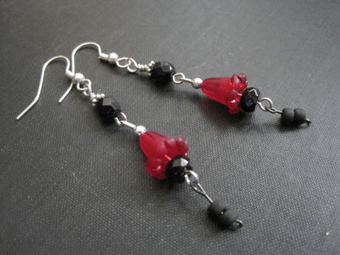 Red,Gothic,Lily,Black,Dangle,Earrings,of,Desire,by,Vamp,Red Gothic Lily Black Dangle Earrings Lily of Desire  by Vamp, handmade, gothic jewelry, flower earrings