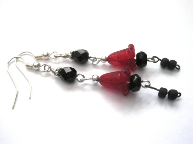 Red Gothic Lily Black Dangle Earrings Lily of Desire  by Vamp - product images  of
