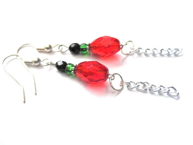 Red Black Green Glass Bead Fringe Chain Dangle Earrings - product images  of
