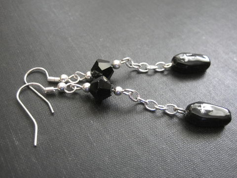 Vampire,Coffin,Chain,Dangle,Earrings,,Elegant,Gothic,Vamp,Vampire Coffin Chain Dangle Earrings, Elegant Gothic Vamp, black coffin earrings, black, handmade