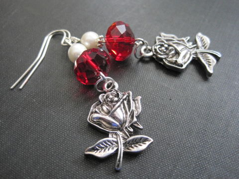 Romantic,Rose,Charm,Red,Crystal,Pearl,Dangle,Earrings,Romantic Rose Charm Red Crystal Pearl Dangle Earrings, handmade