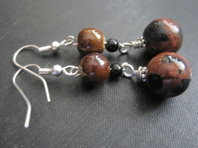 Goldstone Dangle Drop Earrings - product images  of