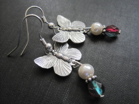 Butterfly,Pearl,Drop,Earrings,,Antique,Silver,Butterfly Pearl Drop Earrings, Antique Silver, handmade