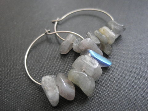 Sterling,Silver,Labradorite,Hoop,Earrings,Sterling Silver Labradorite Hoop Earrings, handmade