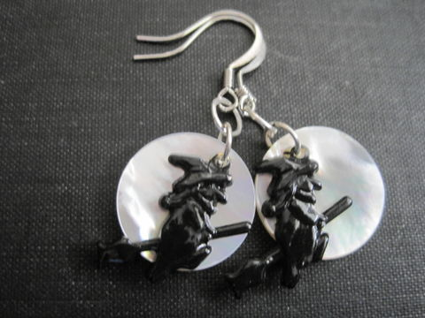 Witch,Moon,Mother,of,Pearl,Dangle,Earrings,Witch Moon Mother of Pearl Dangle Earrings, Halloween, handmade, witch, moon, spooky, horror, fright, gothic, pagan, magical, mother of pearl, painted brass charm