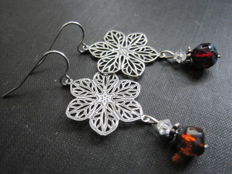 Filigree,Floral,Picasso,Romantic,Bloom,Dangle,Earrings,,Victorian,Filigree Floral Picasso Romantic Bloom Dangle Earrings, Victorian, handmade, filigree earrings, flower jewelry