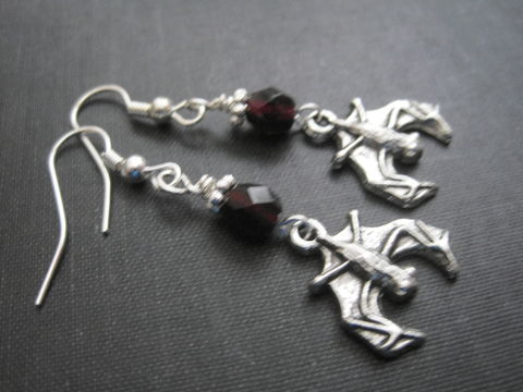 Gothic,Vampire,Bat,Dangle,Earrings,Gothic Vampire Bat Dangle Earrings, goth, gothic, vampire, vamp, bat, dracula, punk, dangle, earrings, rocker, spooky, dark, haunting, creepy, horror, night time, pewter, lolita, gothic lolita, glass beads, red, blood, black, halloween, twilight, dusk, al