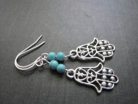 Hamsa,Hand,Turquoise,Magnesite,Dangle,Earrings,Hamsa Hand Turquoise Magnesite Dangle Earrings