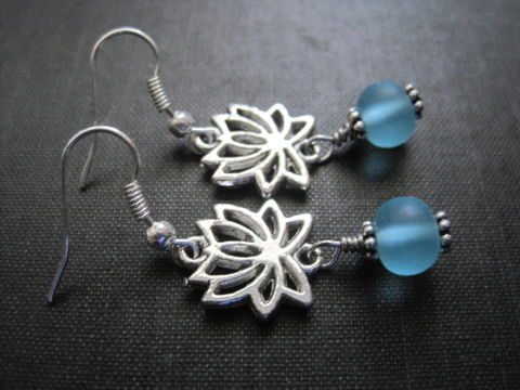 Lotus,Flower,Blue,Seaglass,Earrings,Lotus Flower Blue Seaglass Earrings