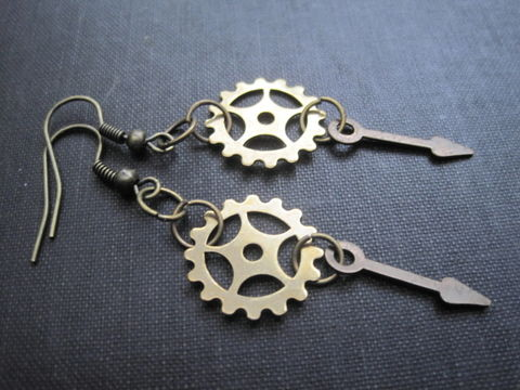 Steampunk,Gears,Dangle,Earrings,Steampunk Gears Dangle Earrings, handmade