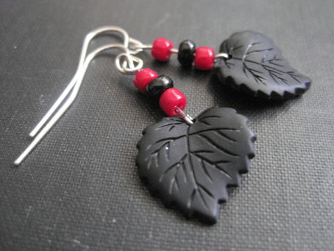 Gothic,Black,Leaf,Red,and,Dangle,Earrings,Gothic Black Leaf Red and Black Dangle Earrings, handmade, black leaf earrings