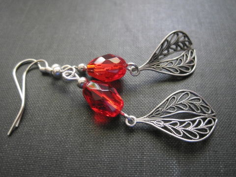 Filigree,Red,Glass,Leaf,Dangle,Earrings,,Ox,Silver,Victorian,Red Glass Filigree Leaf Dangle Earrings, Ox Silver, victorian earrings, handmade