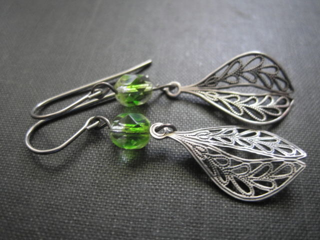 Filigree Green Glass Leaf Dangle Earrings, Ox Silver Victorian - product images  of