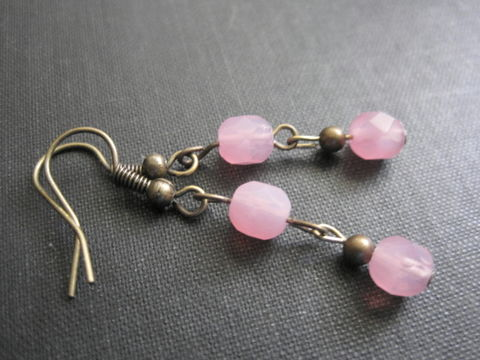 Victorian,Pink,Cotton,Candy,Antique,Brass,Dangle,Earrings,Pink Cotton Candy Antique Brass Dangle Earrings, victorian earrings