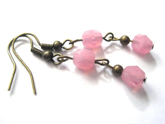 Victorian Pink Cotton Candy Antique Brass Dangle Earrings - product images  of