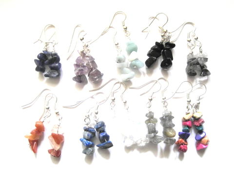 Gemstone,Nugget,Chip,Dangle,Earrings,Gemstone Nugget Chip Dangle Earrings