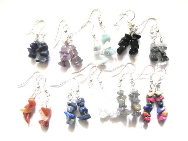 Gemstone Nugget Chip Dangle Earrings - product image