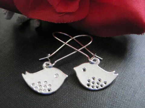 Love,Bird,Dangle,Earrings,silver, love birds, bird, dangle earrings, charm earrings, elongated kidney wire, vamps jewelry, handmade jewelry