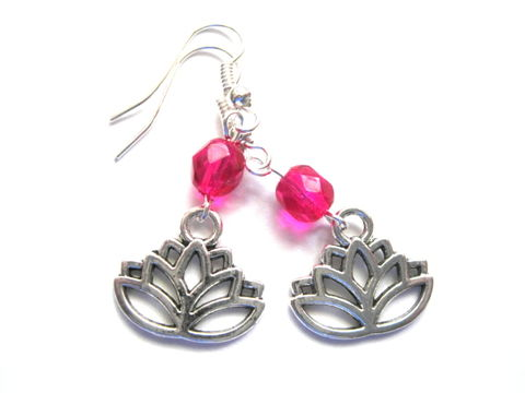 Lotus,Flower,Dangle,Earrings,Lotus Flower Dangle Earrings, pink lotus flower earrings, yoga jewelry, yoga earrings, handmade jewelry