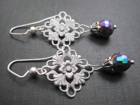 Filigree,Aurora,Borealis,Sparkle,Dangle,Earrings,Filigree Aurora Borealis Sparkle Dangle Earrings, victorian style earrings, vintage style jewelry, handmade jewelry