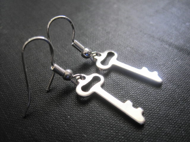 Victorian Key Charm Dangle Earrings - product images  of