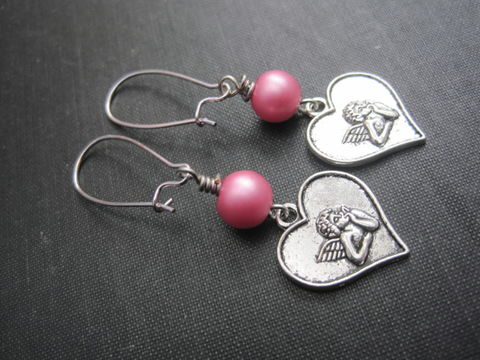 Angel,Love,Heart,Cupid,Cherub,Dangle,Earrings,Angel Love Heart Cupid Cherub Dangle Earrings, valentine's day, romantic jewelry, handmade, handmade jewelry