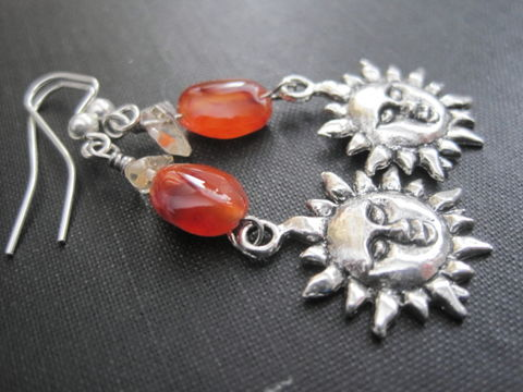 Sun,Charm,Dangle,Earrings,Carnelian,Citrine,Sun Charm Dangle Earrings Carnelian Citrine, handmade jewelry, gemstone jewelry