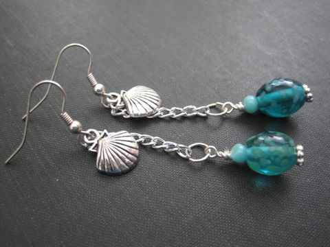 Sea,Shell,Turquoise,Glass,Dangle,Earrings,Sea Shell Turquoise Glass Dangle Earrings