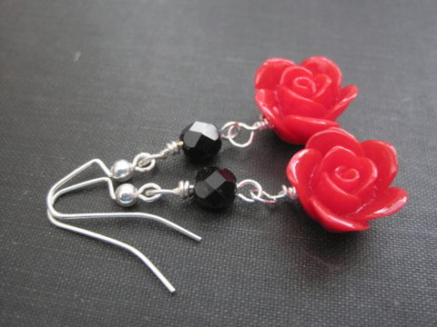 Romantic,Red,Rose,Dangle,Earrings,Romantic Red Rose Dangle Earrings, red rose earrings, handmade jewelry, gothic rose earrings