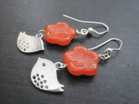 Love,Dove,Bird,Flower,Dangle,Earrings,Love Dove Bird Flower Dangle Earrings, bird earrings, tangerine flower earrings, orange, love birds, handmade jewelry